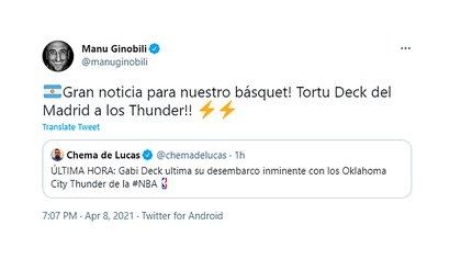 Así fue la reacción de Manu Ginóbili ante la noticia de que Gabriel Deck jugará en la NBA
