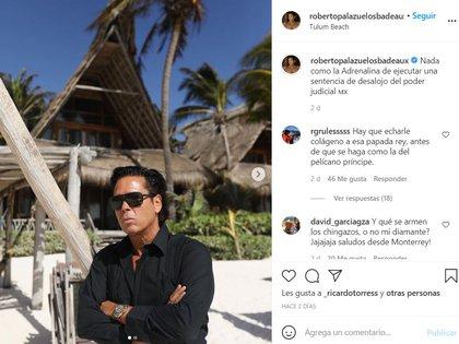 Palazuelos confirmaría su vínculo con el episodio de violencia policial con esta publicación en Instagram FOTO: Instagram/@robertopalazuelosbadeaux