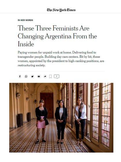 Captura de la nota del diario The New York Times