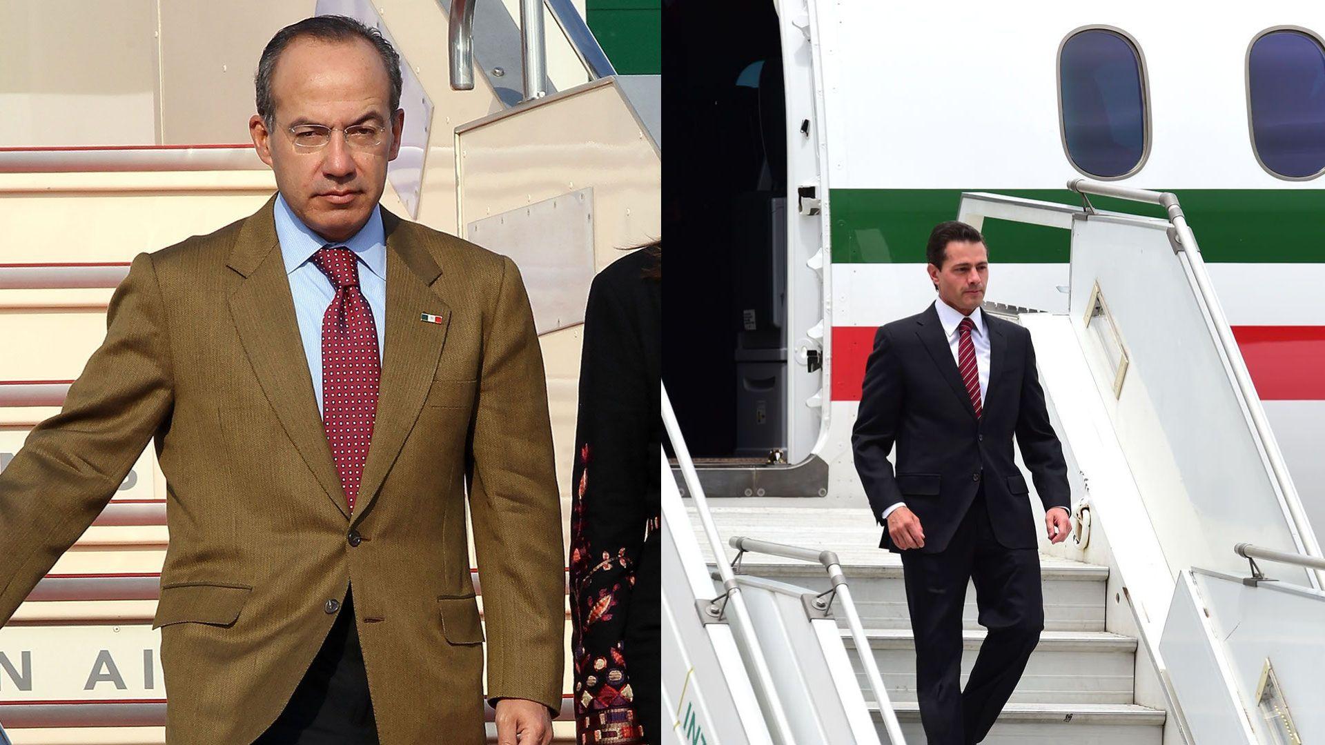 Los ex presidente Felipe Claderón y Enrique Peña Nieto  gastaron altas sumas de dinero en helicópteros y aviones que ahora López Obrador tiene planes para vender (Foto: Especial)