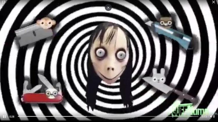 Una captura del mensaje de Momo que se ve en un video infantil