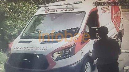 La ambulancia del servicio Más Vida que arribó al country San Andrés el 25 de noviembre.