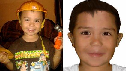 Johan Gael Cardona de la Cruz, desapareció cuando tenía 3 años. A la derecha, la proyección de cómo sería.