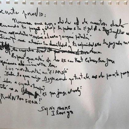 La carta de puño y letra de Charly García a Maradona