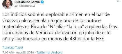 El gobernador dijo que ya identificaron al presunto autor material del ataque al bar en Coatzacoalcos (Foto: Twitter)