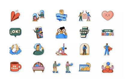 """""""Juntos en casa"""" uno de los packs de stickers animados disponibles en WhatsApp"""