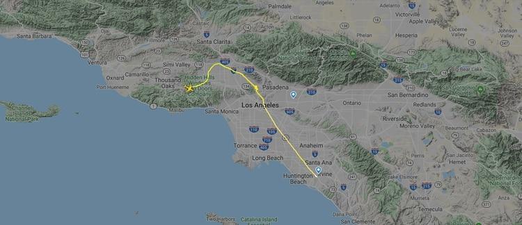 El trayecto que recorrió la aeronave antes de estrellarse