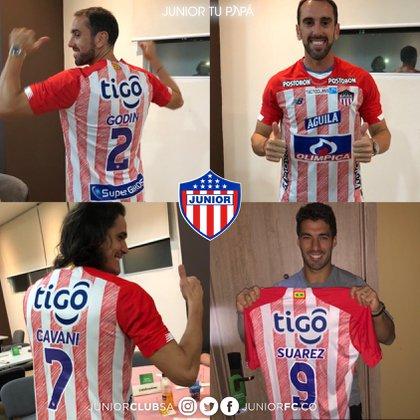 Jugadores referentes de la selección de Uruguay se puso la camiseta del Junior de Barranquilla.