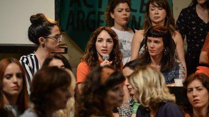 Thelma Fardín, acompañada por el colectivo Actrices Argentinas cuando hizo pública la denuncia