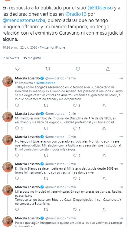 Los tuits posteados por la ministra Losardo para enfrentar la ofensiva del kirchnerismo duro