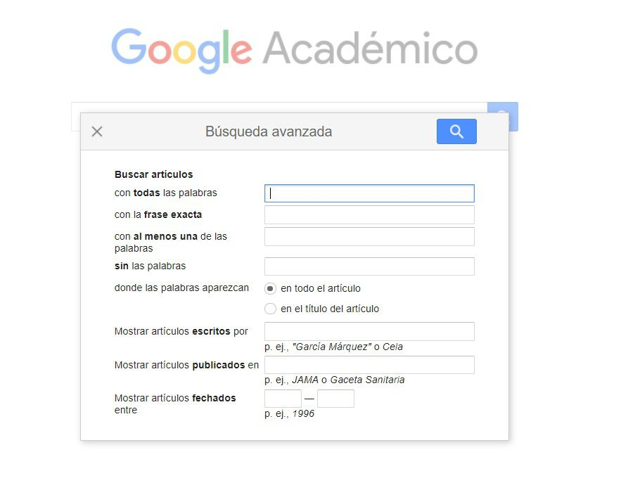 Dentro de Google Académico se pueden hacer búsquedas avanzadas.