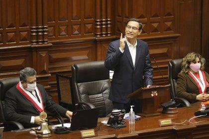 El que fuera presidente de Perú, Martín Vizcarra en el Congreso