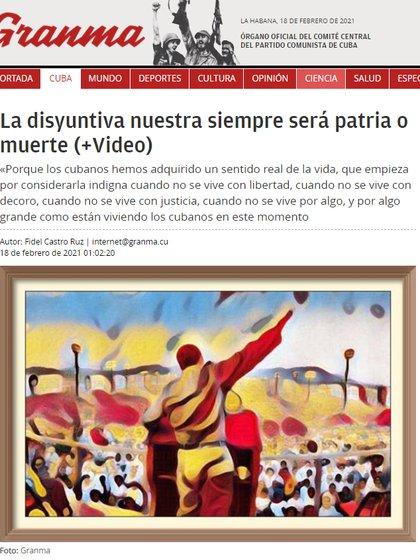 """El diario oficial del régimen, Granma, publicó una serie de notas fustigando a """"Patria y Vida"""" y a sus intérpretes  (Granma)"""
