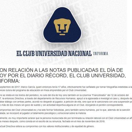 Comunicado del Club (Foto: Twitter)