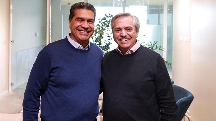 Jorge Capitanich junto al presidente Alberto Fernández. (Instagram @alferdezok)