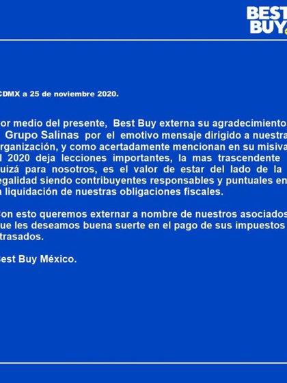 """¿Dónde se dice el informe de Best Buy México? """"Ellos respondieron"""" Para un documento publicado por Grupo Salinas (Imagen: Captura de pantalla, Twitter @ jess_jesafs80)"""