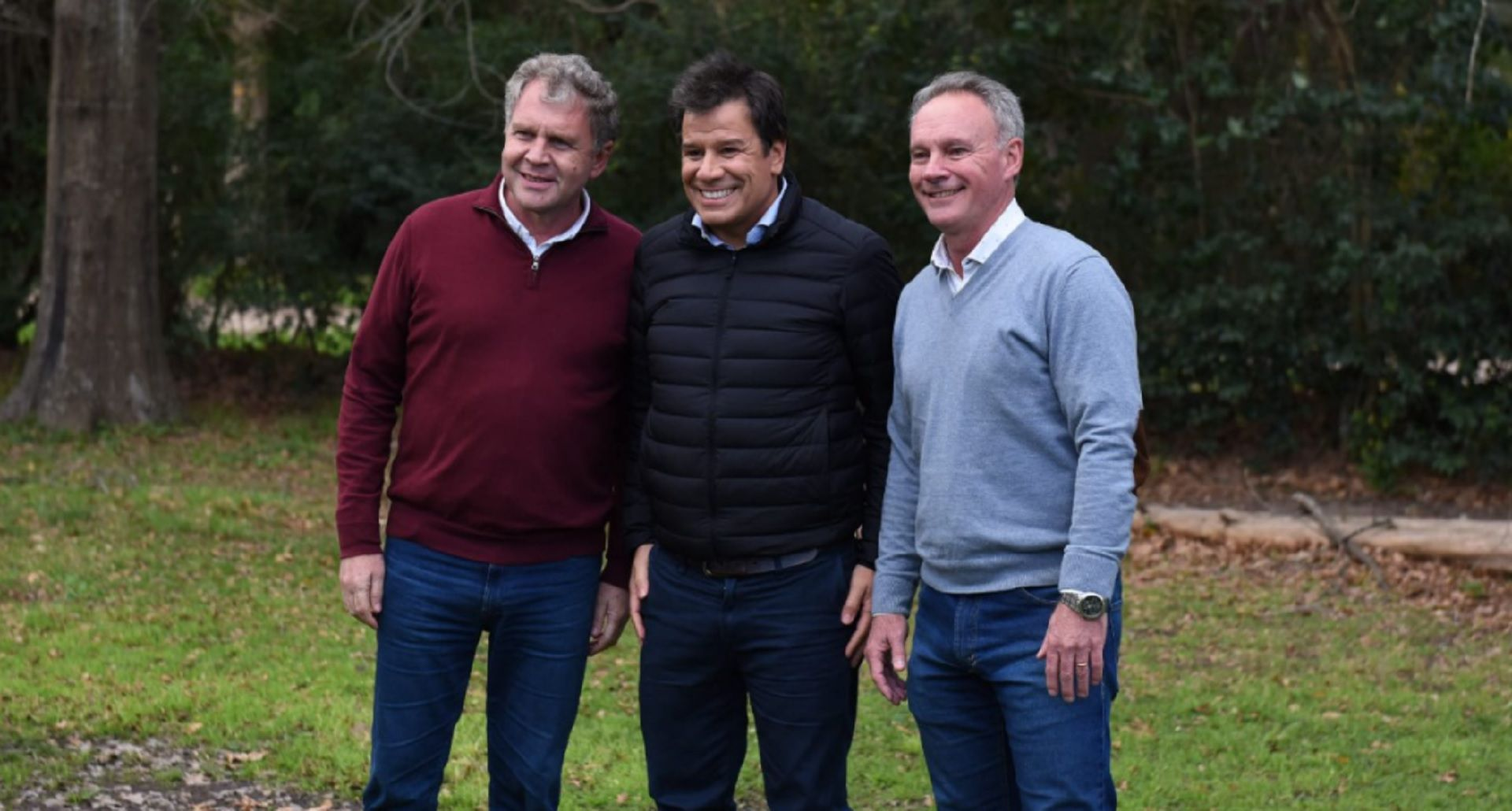 Manes con Pedro Galimberti y Darío Schneider, los precandidatos opositores a Frigerio