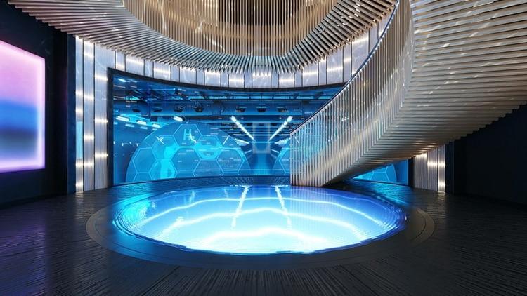 Una imponente escalera central protagoniza el súper yate