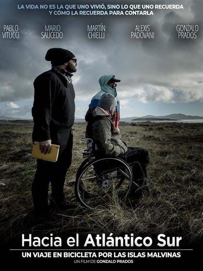 El flyer del documental Hacia el Atlántico Sur