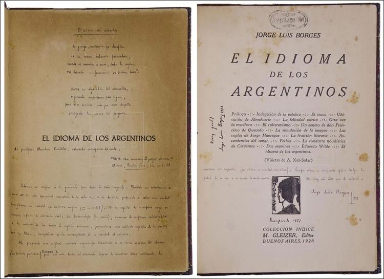 """Primera edición de """"El idioma de los argentinos"""" con correcciones a mano"""