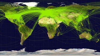 Las rutas de los vuelos comerciales hoy