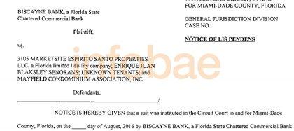 Documento de notificación de la primera demanda del Biscayne Bank contra Blaksley.