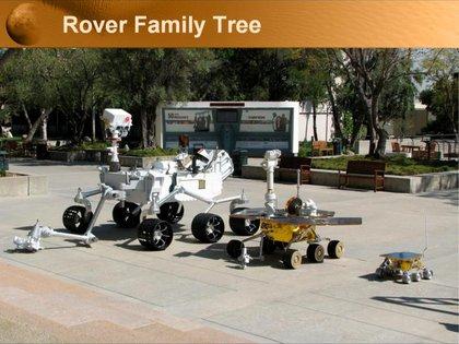 La familia de Rovers de la NASA en Marte. De izquierda a derecha: Curiosity, Spirit y Sojourner (NASA)