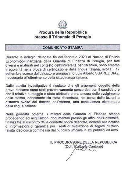 El comunicado de la fiscalía de Perugia