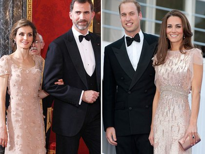 Duelo de looks de la realeza. Letizia junto a Felipe ; Kate Middleton y el principe William de Cambrigde.