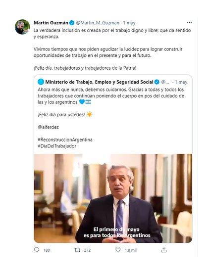 La presencia pública del ministro en estos días se limitó a Twitter
