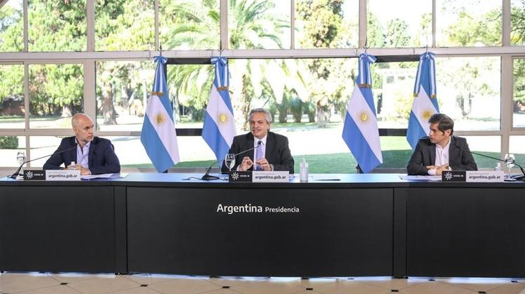 Horacio Rodríguez Larreta, Alberto Fernández y Axel Kicillof, este mediodía en la Quinta de Olivos