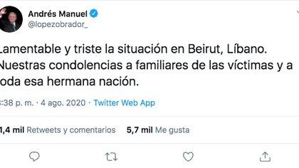 López Obrador envió sus condolencias al pueblo libanés tras explosión en Beirut (Foto: Twitter)