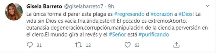El tuit de Gisela Barreto
