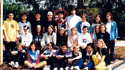 Foto de Kim Jong-un con sus compañeros del International School of Berne