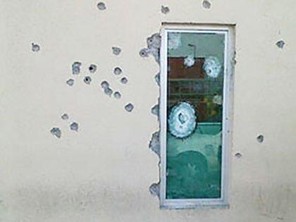 Una pared de la redacción de El Mañana de Nuevo Laredo tras el ataque