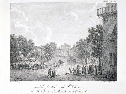 La Cibeles en 1882, grabado de Louis Albert Guislain Bacler d´Albe