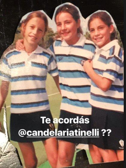 Hace un tiempo Marcelo Tinelli compartió la foto de Cande de chica, con sus compañeras de Hockey