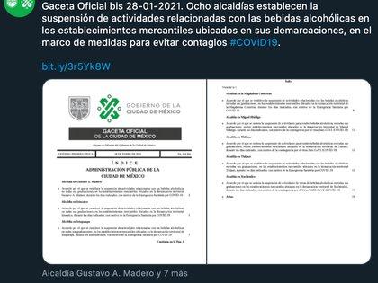 Cada semana se alternan las alcaldías que tendrán ley seca (Foto: Twitter@CDMXConsejeria)