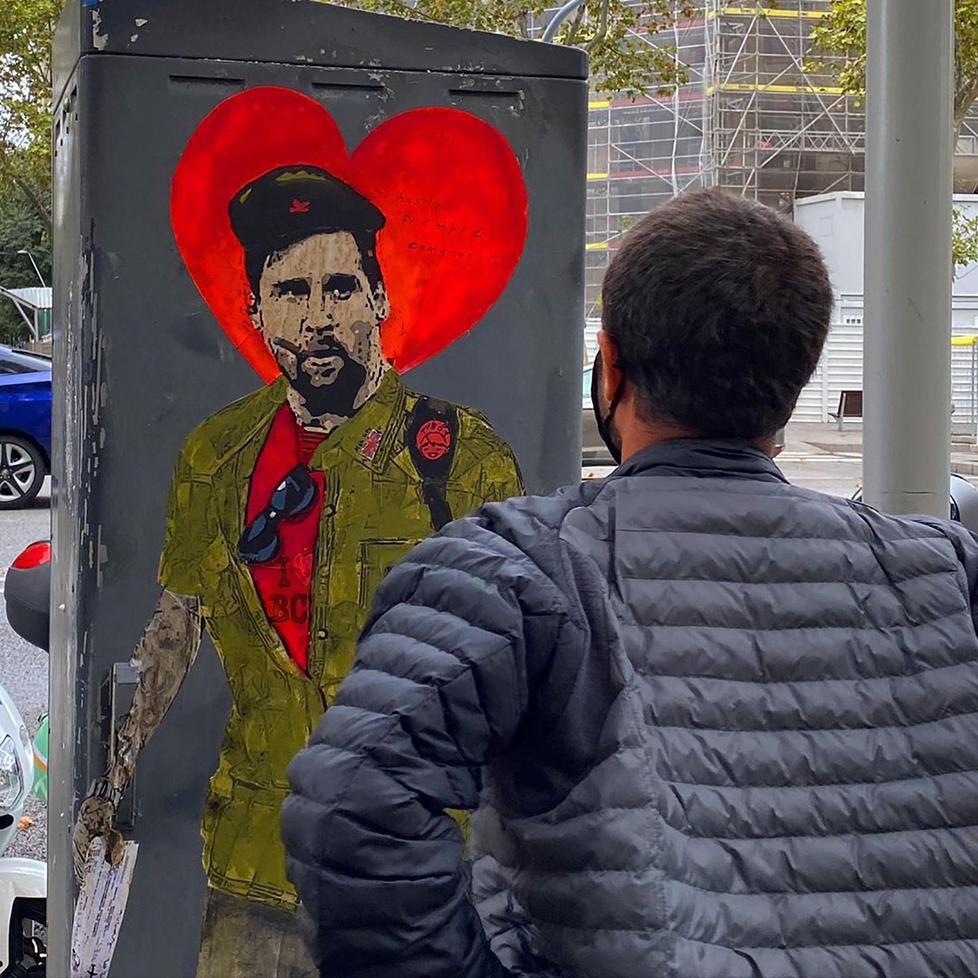 El grafitero TvBoy despidió a Messi con un dibujo de el