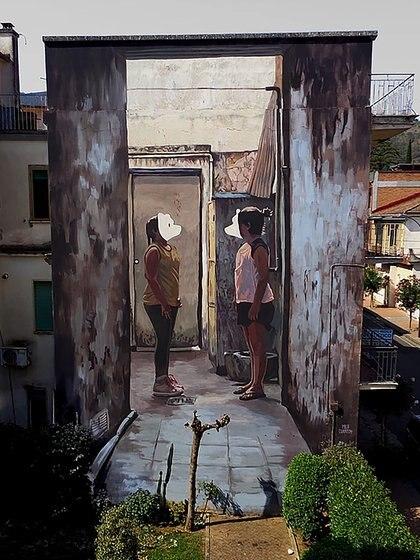 Mural de Milu Correch en Airola, Italia