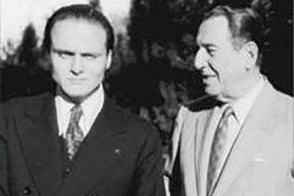 """Juan Domingo Perón y Rodolfo Galimberti, a quien el general desplazó de la titularidad de la JP porque este había hecho referencia a la necesidad de armar """"milicias populares"""""""