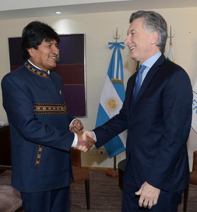 Macri junto a su par boliviano, Evo Morales (Télam)