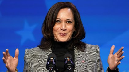 U.S. Vice President-elect Kamala Harris speaks after  U.S. President-elect Joe Biden introduced key members of his White House science team at his transition headquarters in Wilmington, Delaware, U.S., January 16, 2021 REUTERS/Kevin Lamarque