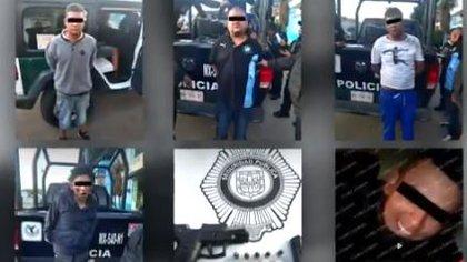 """""""El Tito"""" fue detenido en la GAM junto a otros cuatro hombres Fotografía: Noticieros Televisa"""