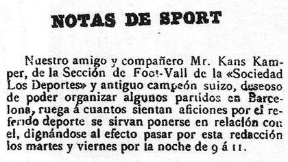 La nota publicada que derivó en la fundación del FC Barcelona