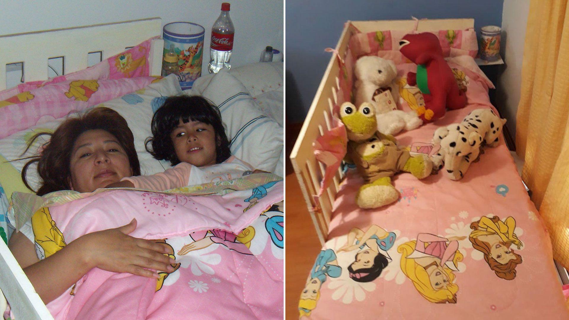 Mamá, María Elena Delgado, e hija hace 12 años. La cama está vacía hoy.