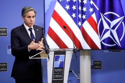 El secretario de Estado norteamericano, Antony Blinken, durante una conferencia de prensa al final de una reunión de ministros de Relaciones Exteriores de la OTAN en la sede de la Alianza en Bruselas, Bélgica, este 24 de marzo (Reuters)