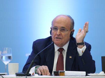 Fotografía de archivo fechada el 17 de julio de 2019 que muestra al exalcalde de Nueva York Rudolph Giuliani, durante un encuentro con la prensa en Santo Domingo (República Dominicana). EFE/Orlando Barría/Archivo