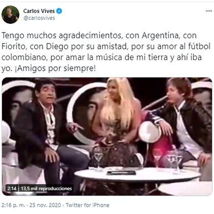 Carlos Vives tras la muerte de Diego Armando Maradona.