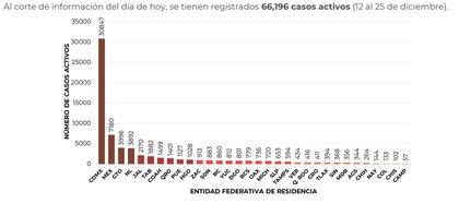 Las entidades con mayor número de casos activos de COVID-19 son Ciudad de México, Estado de México y Guanajuato (Captura de pantalla)